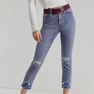 BDG Twig Leg High Rise Jeans Raw Hem Distressed 25